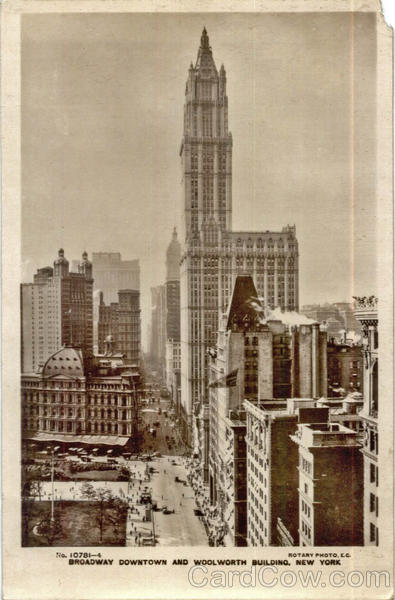 Broadway Downtown and Woolworth Building New York