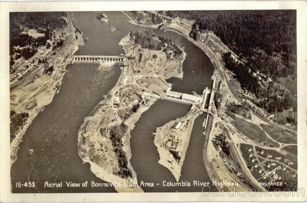 Aerial View of Bonneville Dam Area, Columbia River Highway Portland Oregon