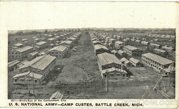 Bird's Eye of the Cantonment City, U. S. National Army-Camp Custer Battle Creek Michigan