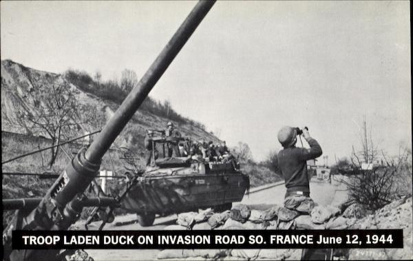 Troop Laden Duck On Invasion Road World War II