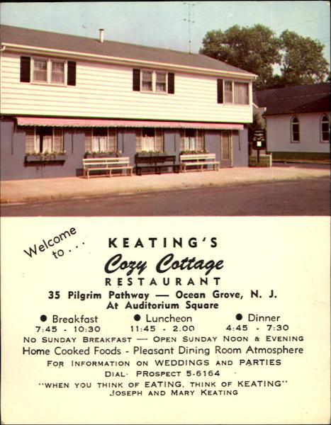 Keating's Cozy Cottage Restaurant, 35 Pilgrim Pathway Ocean Grove, NJ