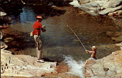 Man Fishing with Boy