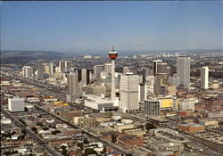 Panoramic Aerial View Of Downtown Calgary Postcard