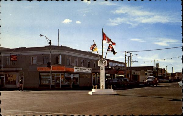 Mile Zero Post At The Main Intersection, 102nd Ave Dawson Creek Canada
