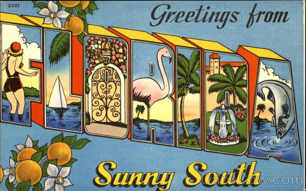 Greetings From Florida Sunny South Large Letter