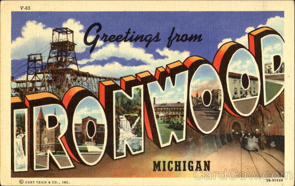 Greetings From Ironwood Michigan Large Letter