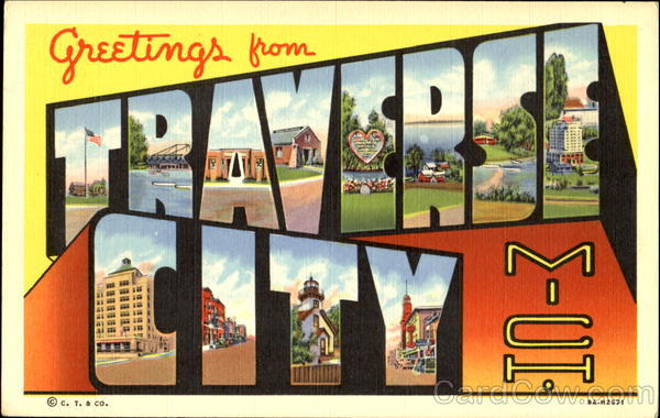 Greetings From Traverse City Michigan Large Letter