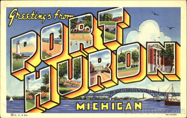 Greetings From Port Huron Michigan Large Letter
