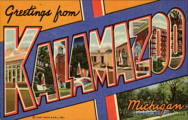 Greetings From Kalamazoo Michigan Large Letter