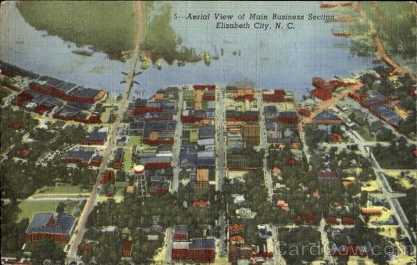 Aerial View Of Main Business Section Elizabeth City North Carolina