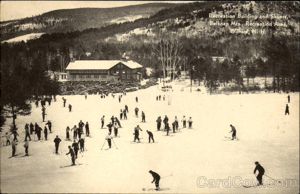 Recreation Building And Skiiers, Belknap Mts Gilford New Hampshire