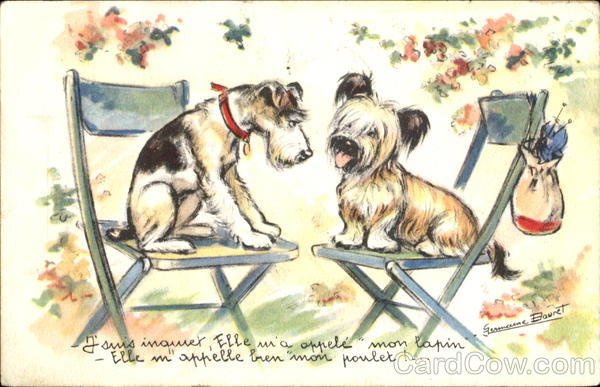 Dogs (French) Germaine Bouret Artist Signed