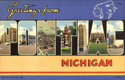 Greetings From Pontiac Postcard