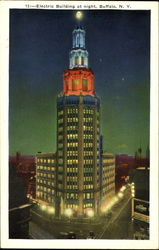 Electric Building At Night Postcard