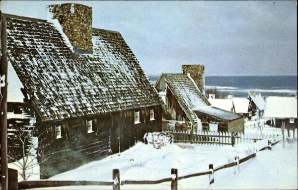 A Cold Winter Scene At Plimoth Plantation Plymouth Massachusetts