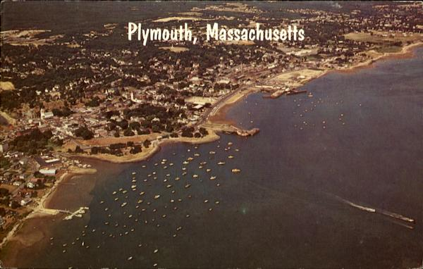 Aerial View Of Harbor Of Plymouth Massachusetts