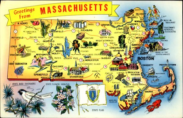 Greetings From Massachusetts Maps