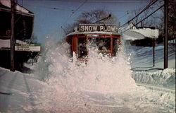 MBTA Snow Plow In Action Blizzard of 1978 Postcard