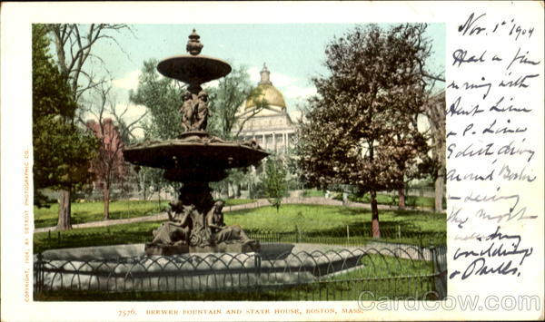 Brewer Fountain And State House Boston Massachusetts