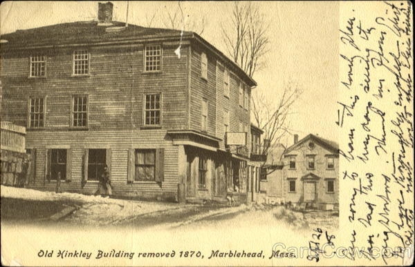 Old Hinkley Building Removed 1870 Marblehead Massachusetts