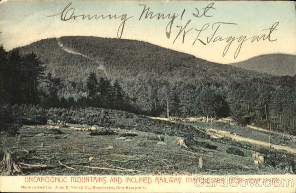 Uncanoonuc Mountains And Inclined Railway Manchester New Hampshire
