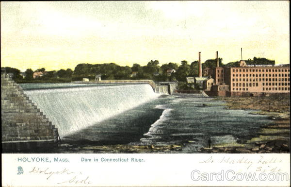 Dam In Connecticut River Holyoke Massachusetts
