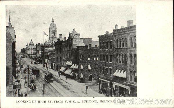 Looking Up High St. From Y. M. C. A. Building Holyoke Massachusetts