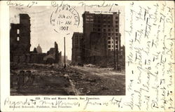Ellis And Mason Streets, after earthquake Postcard