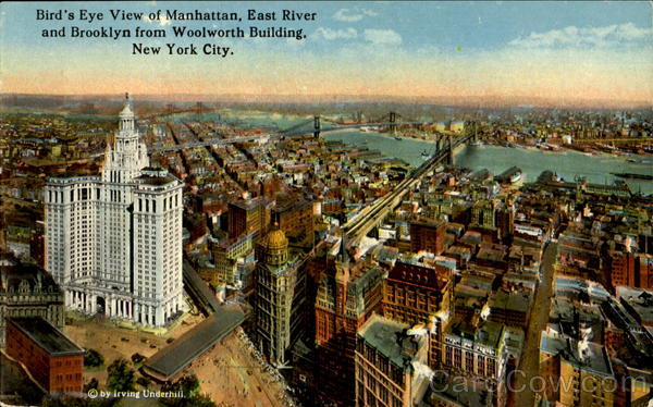 Bird's Eye View Of Manhattan East River And Brooklyn From Woolworth Building New York City