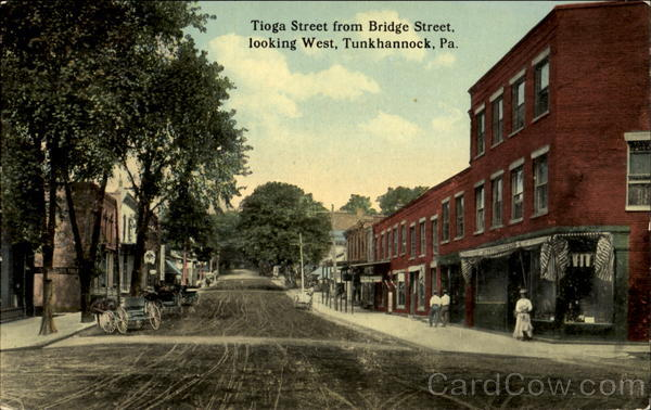 Tioga Street From Bridge Street Looking West Vintage Postcard