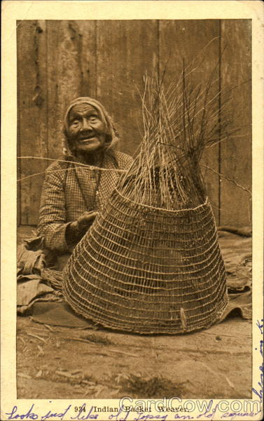 Indian Basket Weaver Native Americana