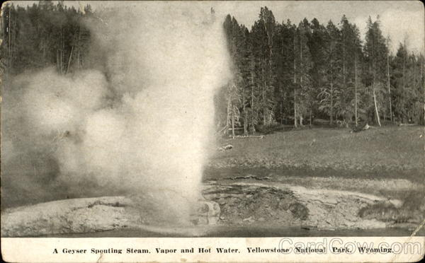 A Geyser Spouting Steam, Yellowstone National Park Wyoming