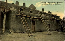 Unusual Pueblo Indian Dwelling With Bake Oven On The Roof