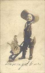Boy with Wheelbarrow Map of West Virginia Postcard