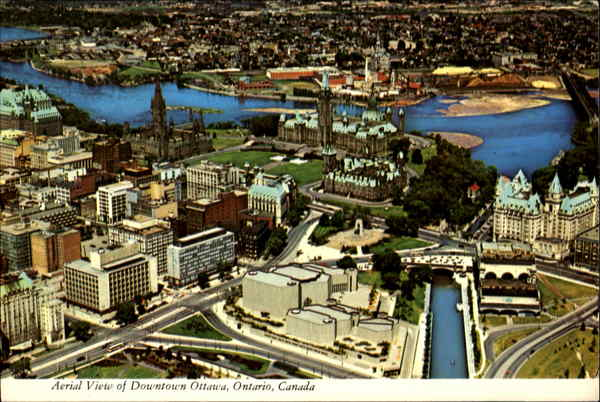 Aerial View Of Downtown Ottawa Ontario Canada