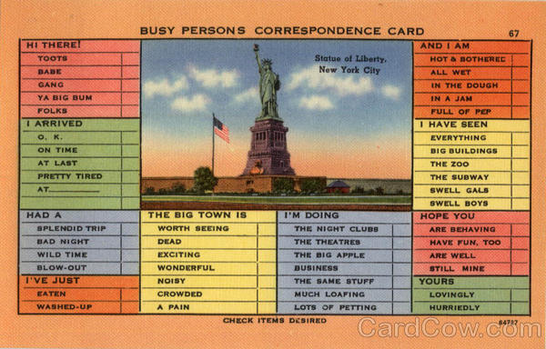 Busy Persons Correspondence Card - Statue of Liberty New York City