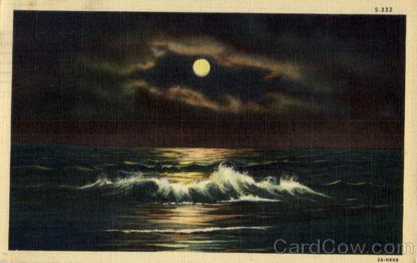 Ocean Scene at Night - Full Moon San Diego California