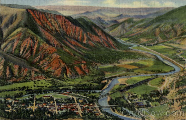 Panorama of Glenwood Springs and Colorado River Lookout Mountain