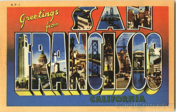 Greetings from San Francisco California Large Letter