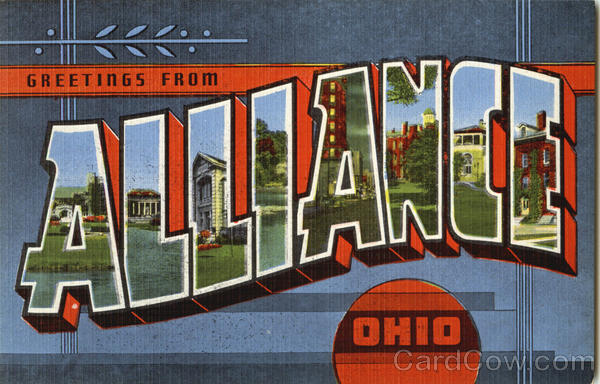 Greetings from Alliance Ohio Large Letter