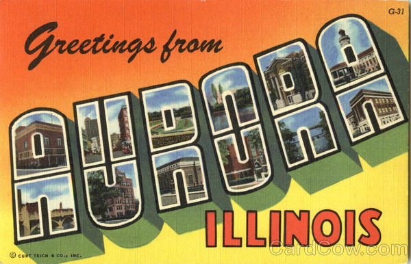 Greetings from Aurora Illinois Large Letter