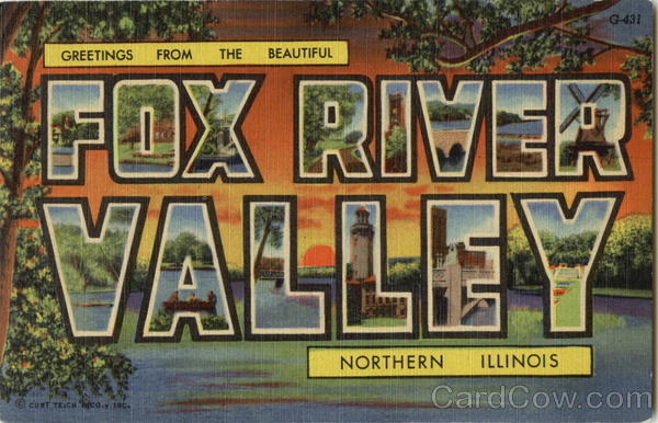 Greetings from Fox River Valley Illinois Large Letter