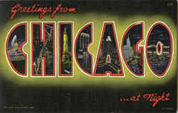 Greetings from Chicago ...at Night Postcard