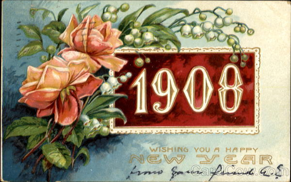 1908 Wishing You A Happy New Year New Year's