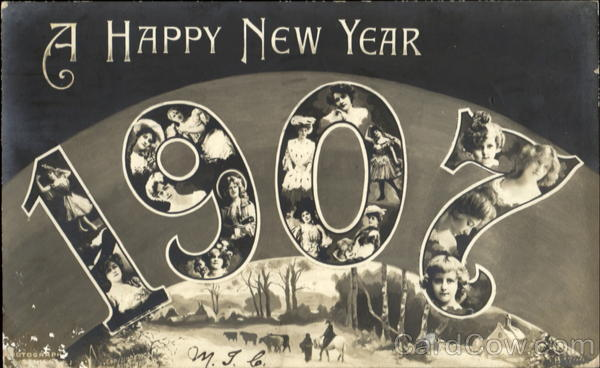 A Happy New Year 1907 New Year's Faces in Letters