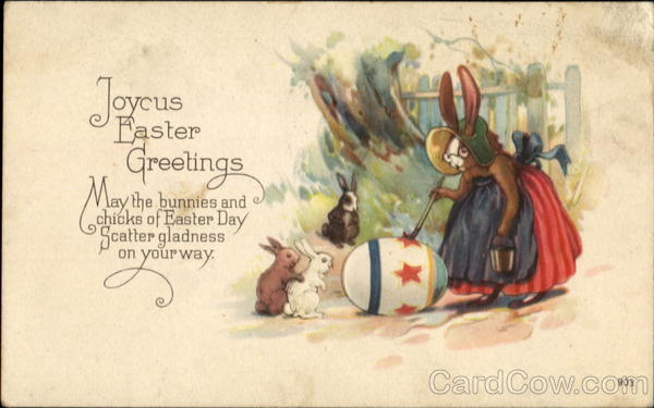 Joyous Easter Greetings With Bunnies