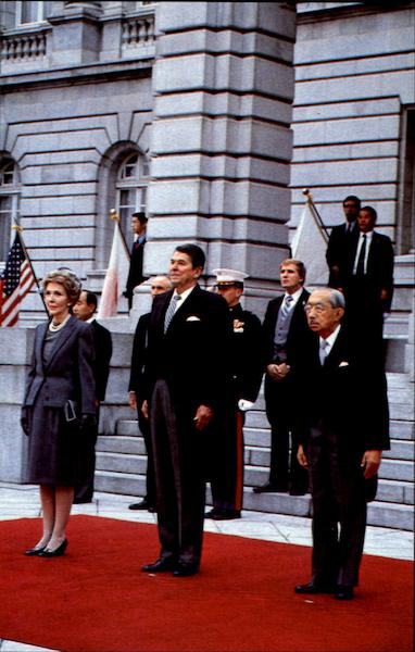 Emperor Hirohito Stands With President And Mrs Reagan