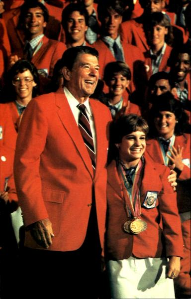 President Reagan Greeted Mary Lou Retton Los Angele
