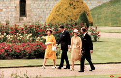 The Reagans Stroll With Queen Elizabeth Ii And Prince Philip