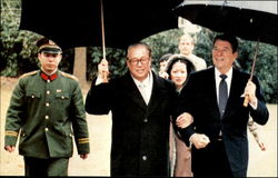President Reagan Walks Chinese Premier Zhoa Ziyang To His Car